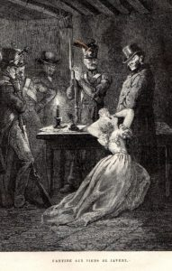 ©Mo, via CreativeCommons.org and Flickr.com. Inspector Javert imprisoning Fantine. Gustave Brion's illustration for the 1862 first edition.