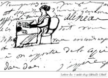 Juliette Colloque drawing of herself writing 7 aout 1841 BnF